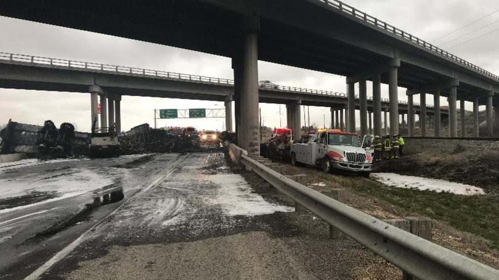one killed after semi truck falls from freeway overpass kboi