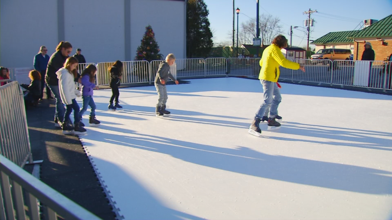 There's a new holiday attraction this year to downtown Hendersonville. An ice skating rink opens Tuesday by the visitors center. (Photo credit: WLOS staff)
