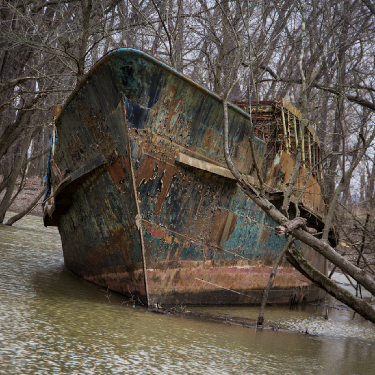 The Circle Line V was a ship that first launched in 1902, served numerous purposes, and subsequently came to rest on the banks of the Ohio River years later. For decades, the ship has been rusting beneath a canopy of trees, attracting visitors who want to see and photograph the hulking, metal boat. The ship sits on private property. / Image courtesy of Ronny Salerno and Queen City Discovery // Published: 8.4.18