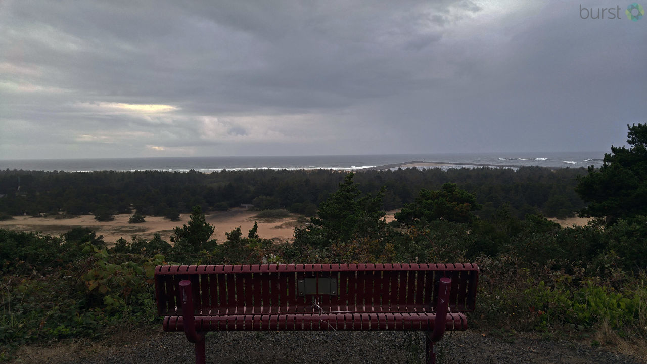 Winchester Bay on September 18 at 6:30 p.m.: Rain and gray. (Debbie Tegtmeier via BURST.com/KVAL)