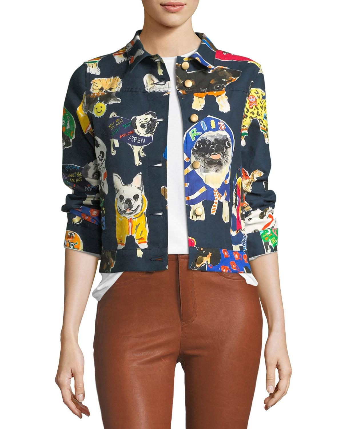 Play with your clothes like you do with your dogs in this colorful dog print jacket featuring various pooches in fun dog clothes. Throw over your work clothes for an easy transition from professional to playful. Find it exclusively at Neiman Marcus.{ } (Image: Courtesy Neiman Marcus)