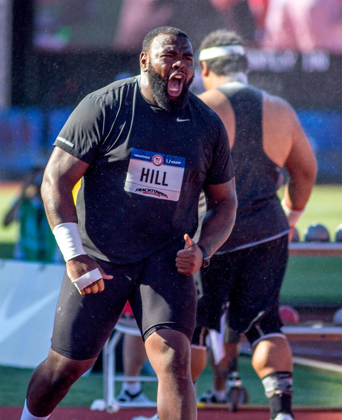 Darrel Hill let's out a yell upon achieving a new personal record in the shot put competition. Hill placed fourth in the shot put with a final distance of 20.56m. Day one of the U.S. Olympic Trials Track and Field began on Friday at Hayward Field in Eugene, Oregon and will continue through July 10. Photo by August Frank, Oregon News Lab