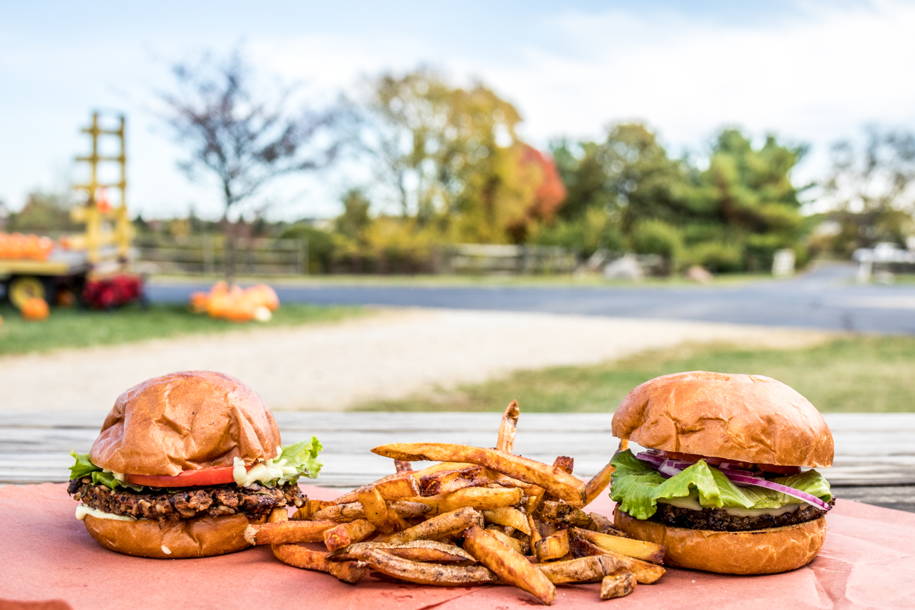 The LFM Burger, Black Bean Burger, and fries / Image: Catherine Viox{ }// Published: 11.5.20