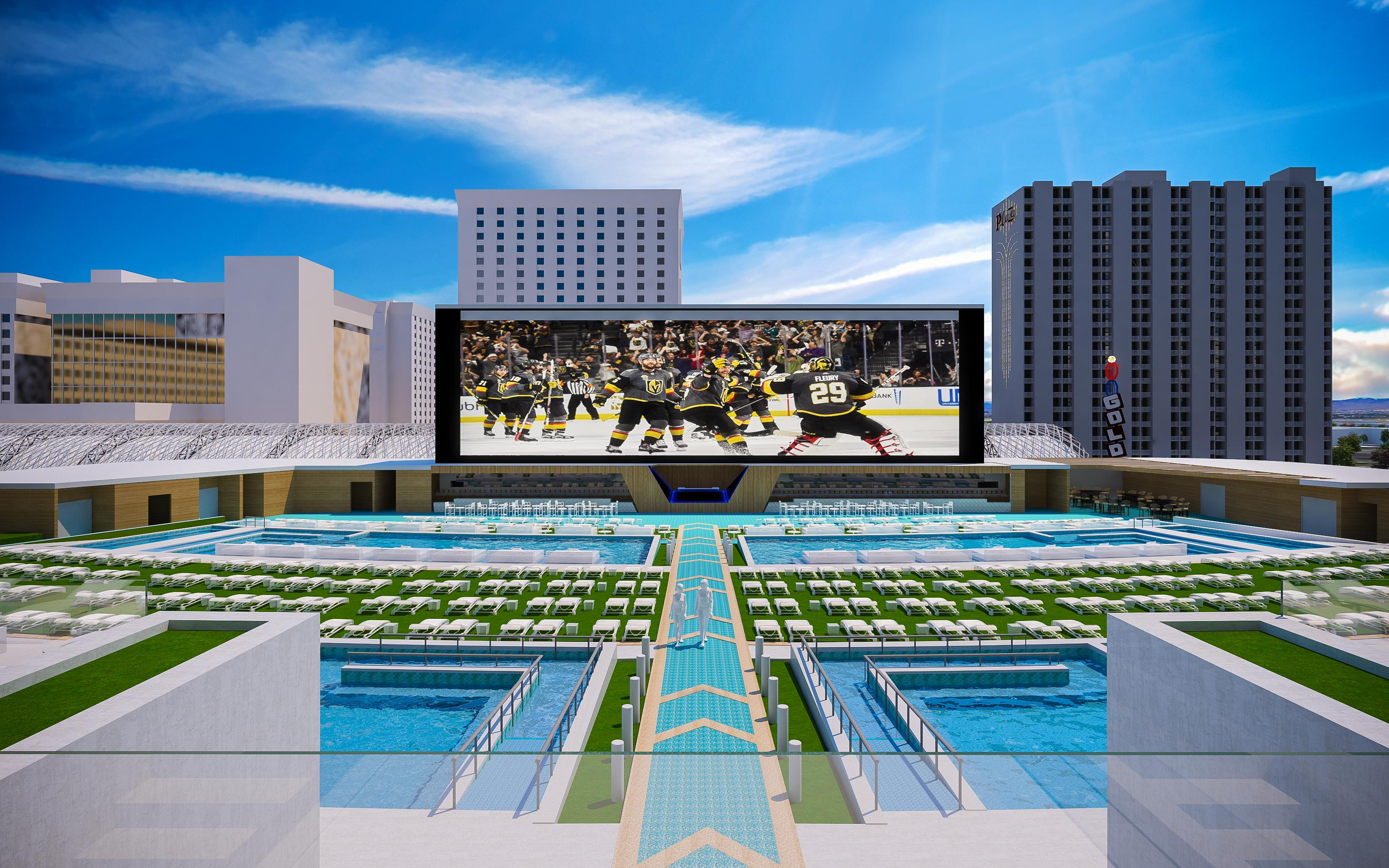 This is a rendering of the pool deck of Derek Stevens' new project for Fremont Street, Circa Resort & Casino, released Thursday, Jan 10, 2019 (Rendering courtesy of Circa)