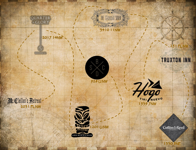 Tiki Trail Map (Courtesy of Truxton Inn)