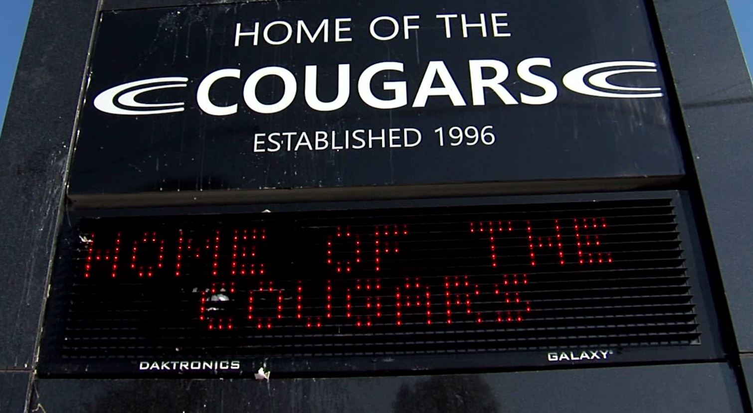Bits of yolk and shell remain, baked into the Home of the Cougars sign at Clay-Chalkville High School.