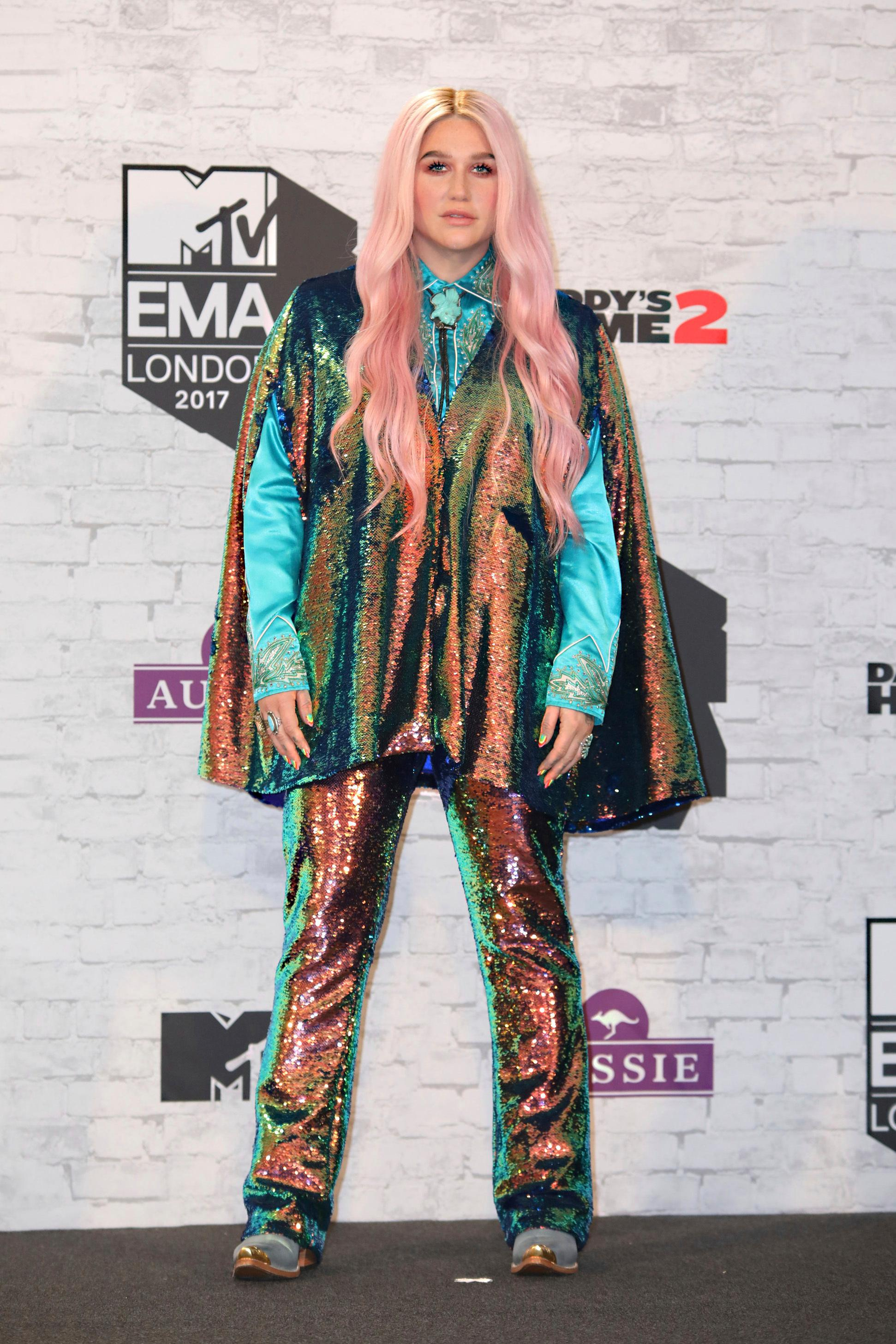 Singer Kesha poses for photographers backstage at the MTV European Music Awards 2017 in London, Sunday, Nov. 12th, 2017. (Photo by Vianney Le Caer/Invision/AP)