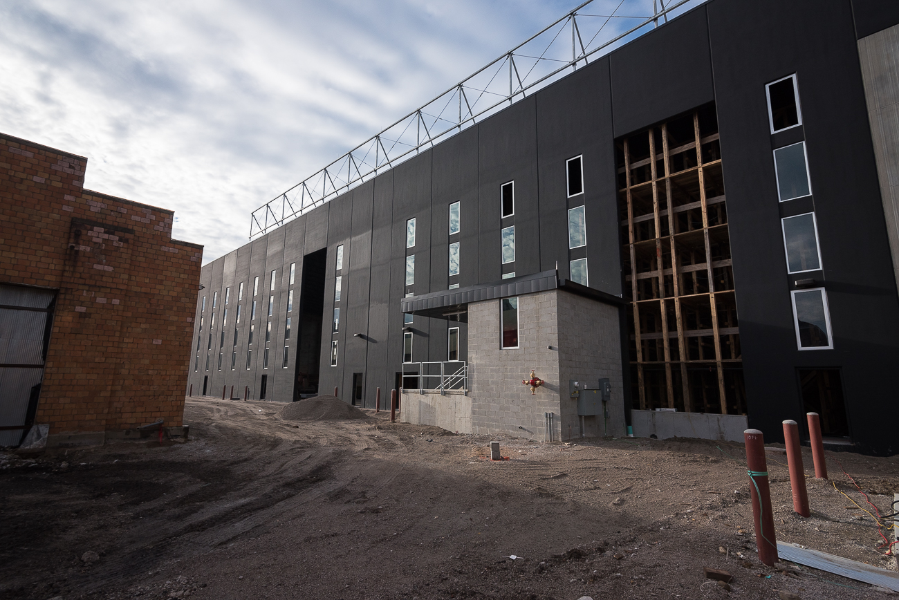 The rickhouse, a new 5-story building being constructed behind the barrelhouse, will hold around 18,000 barrels once completed. It will use the &quot;rick&quot; method of stacking, which is a native Kentucky style of stacking that utilizes racks to allow easy removal. / Image: Phil Armstrong, Cincinnati Refined // Published: 12.4.17<p></p>