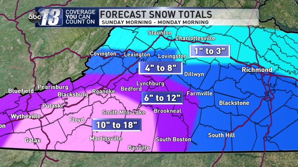 The Latest Snow Totals For Sundays Snowstorm Wset