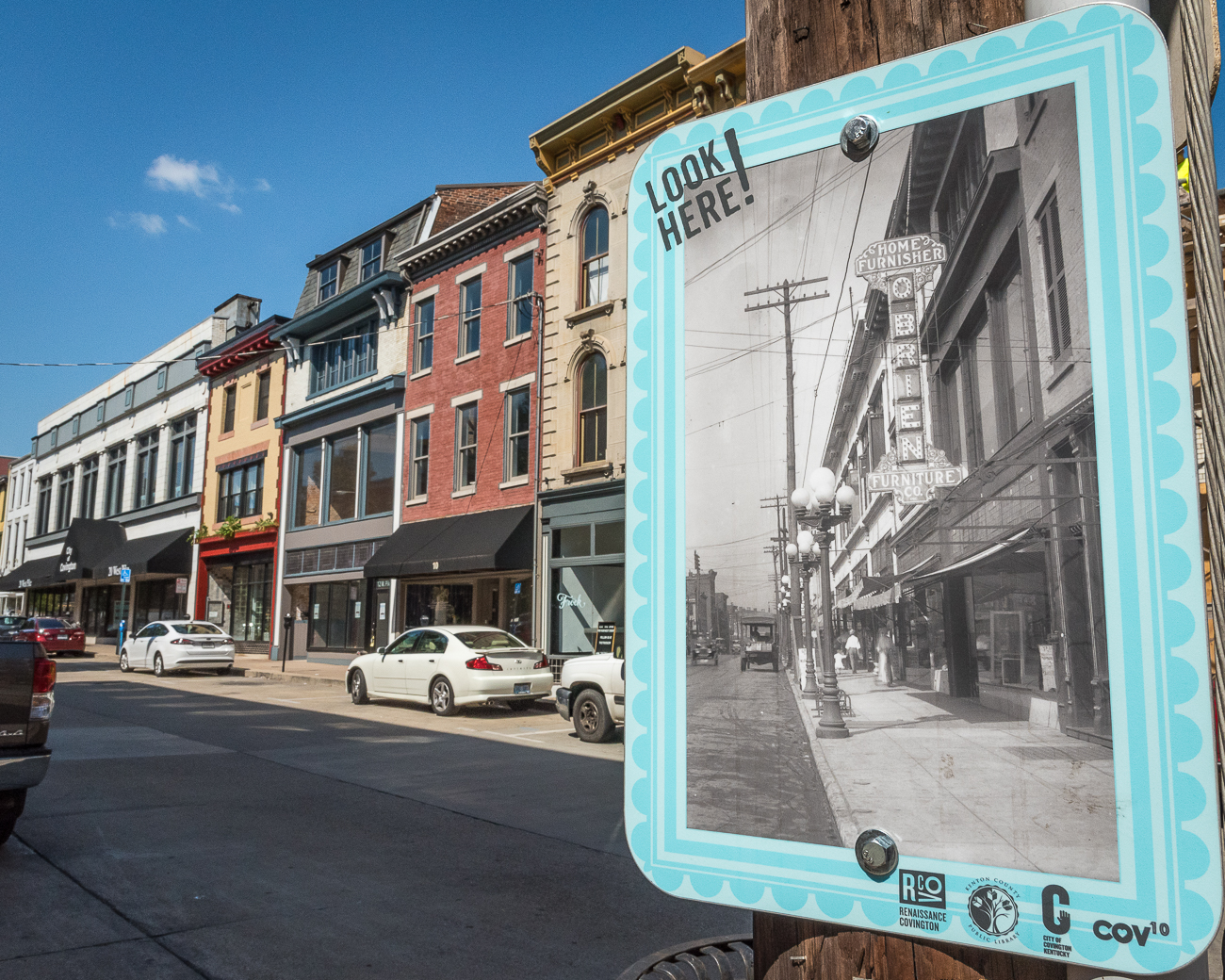 Look Here! Covington: old photographs of historic places in Covington that were attached to street signs in the areas they reference. / Image: Phil Armstrong, Cincinnati Refined // Published: 1.24.18<p></p>