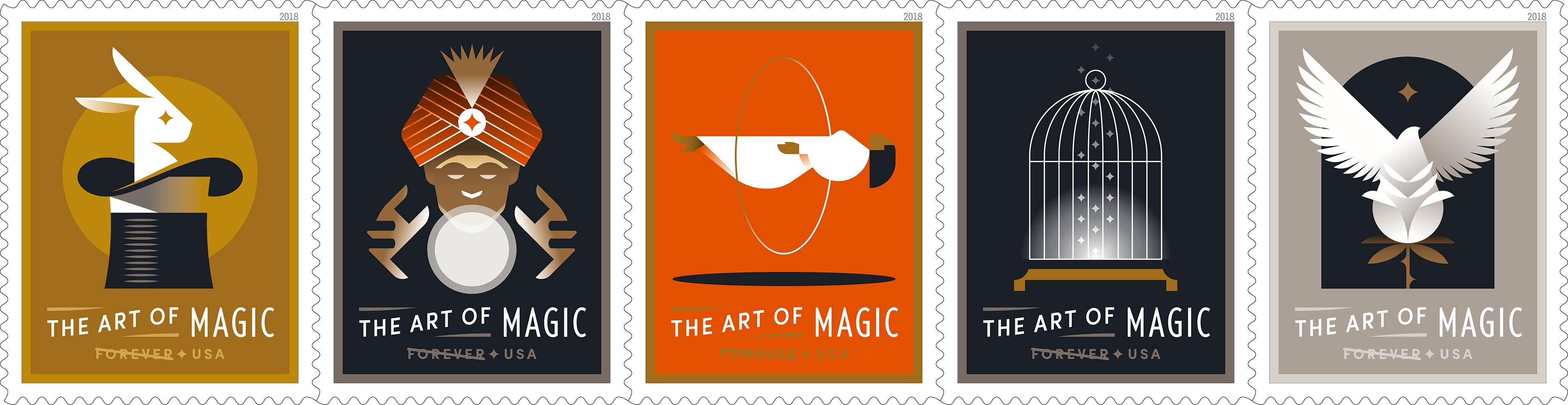 The Art of Magic: The Postal Service celebrates the art of magic with this pane of 20 stamps featuring digital illustrations of five classic tricks magicians use to amaze and delight audiences: a rabbit in a hat (production), a fortune teller using a crystal ball (prediction), a woman floating in the air (levitation), an empty bird cage (vanishing), and a bird emerging from a flower (transformation). (USPS)