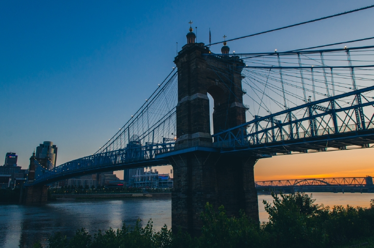 Tangerine Sunrise. Under the Roebling Bridge. August 16, 2014 / Image: Corey Stevens