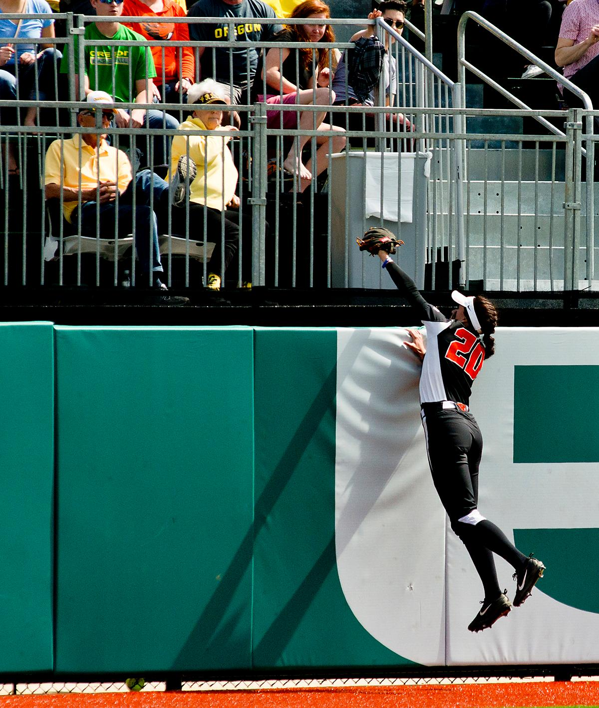 Oregon State Beavers right fielder Shelby Weeks (#20) climbs the wall to make a catch against the Oregon Ducks. The Oregon Ducks defeated the Oregon State Beavers 7-2 in game two of the three-game Civil War series at Jane Sanders Stadium on Saturday. The final game of the series will be on Sunday at 3:00 p.m. at Jane Sanders Stadium. Photo by Dan Morrison, Oregon News Lab
