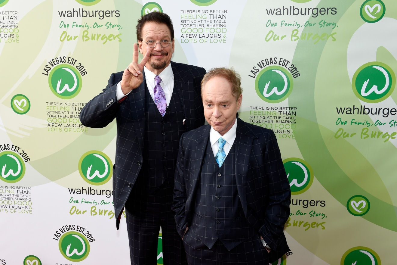 Penn Jillette and Teller arrive at a VIP event at Wahlburgers Las Vegas in the Grand Bazaar Shops at Bally's Tuesday, March 28, 2017. [Sam Morris/Las Vegas News Bureau]