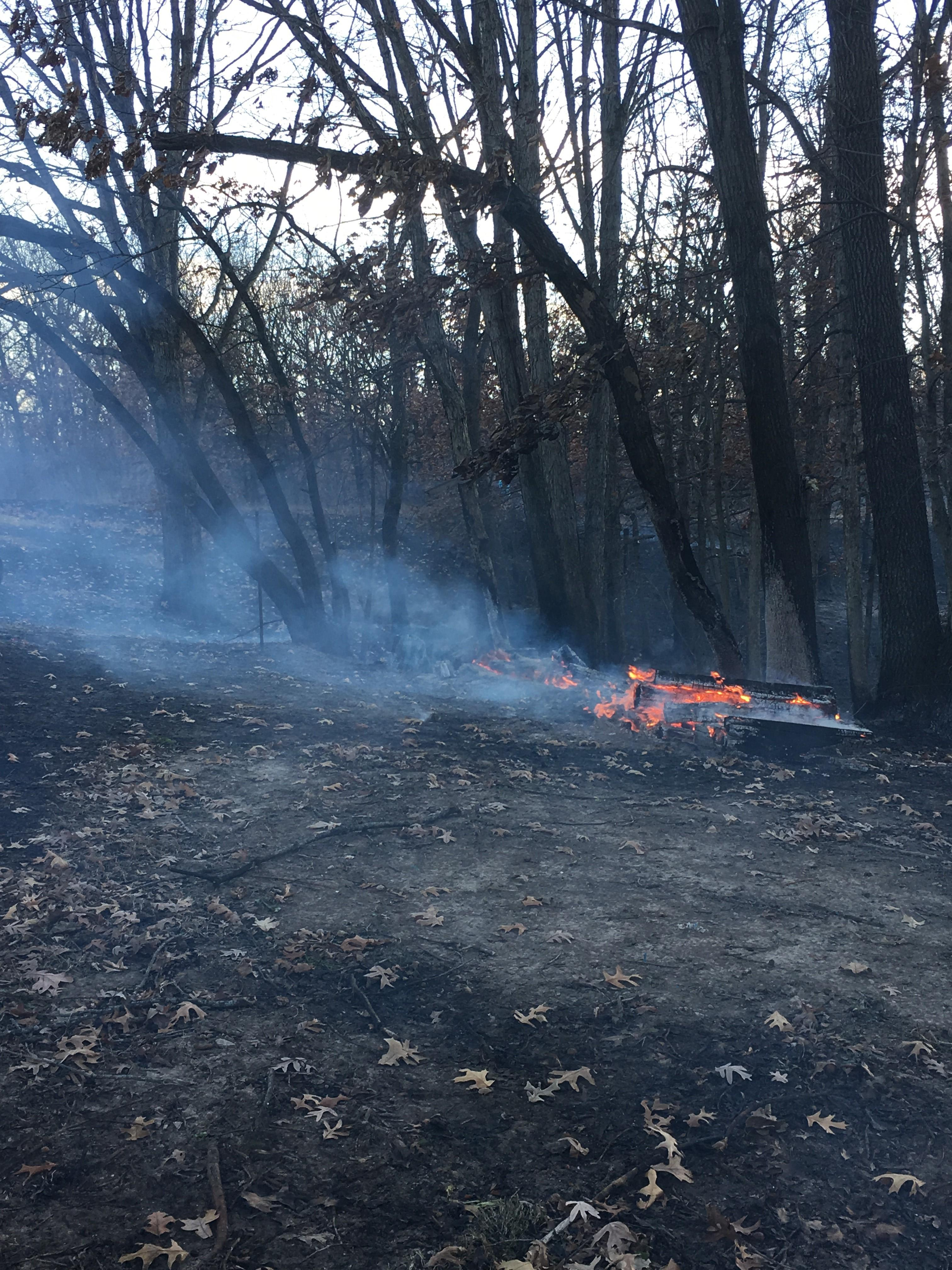 The flames caught freshly cut firewood on fire as they spread through the timber behind the Hooks' mobile home on Stahl Road northwest of Novinger, Mo. (John Garlock/KTVO)<p></p>