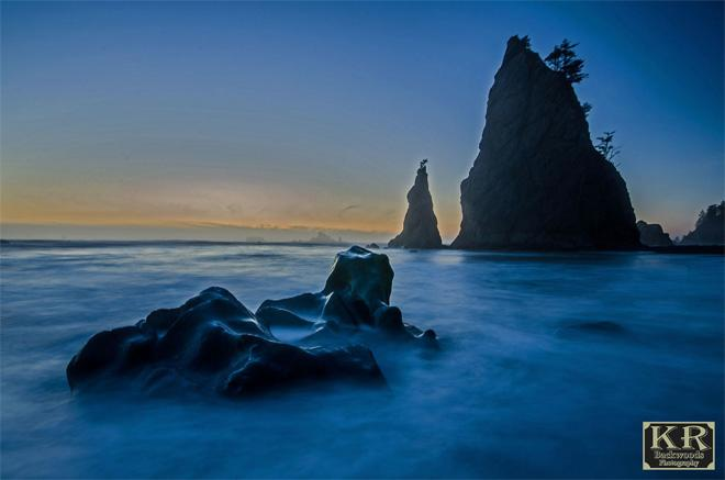 "Rialto Beach a bit after sunset. ""I used a slow shutter to get a foggy effect with the water and waves"" -- photographer Kevin Russell, KR Backwoods Photography"