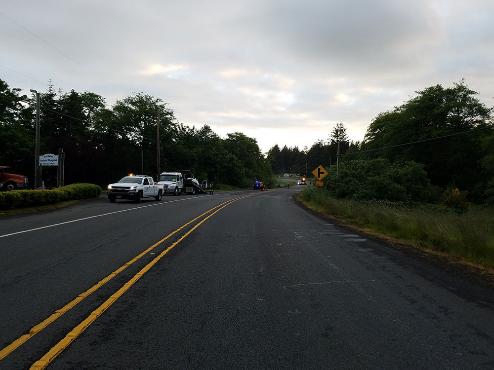 A Seaside woman died and an Astoria man suffered serious injuries in a head-on crash on Highway 101 early Saturday morning, Oregon State Police said. (OSP photo)