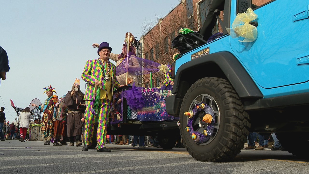 Asheville's annual Mardi Gras parade has been canceled this year, but organizers are sponsoring a self-drive tour of house floats instead. (Photo credit: WLOS staff)