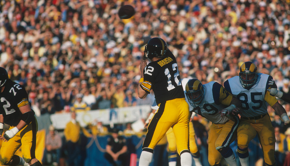 Pittsburgh Steelers quarterback Terry Bradshaw quarterback for the Pittsburgh Steelers completes a pass during Super Bowl XIV against the Los Angeles Rams at the Rose Bowl on Jan. 20, 1980 in Pasadena, Calif. The Steelers won, 31-19. (Photo by Focus On Sport/Getty Images)