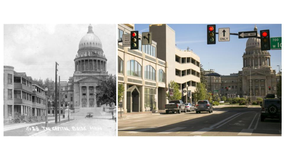 Downtown Boise looking toward the Idaho State Capital on Capital Boulevard. (Kristen McPeek and Idaho Historical Society)