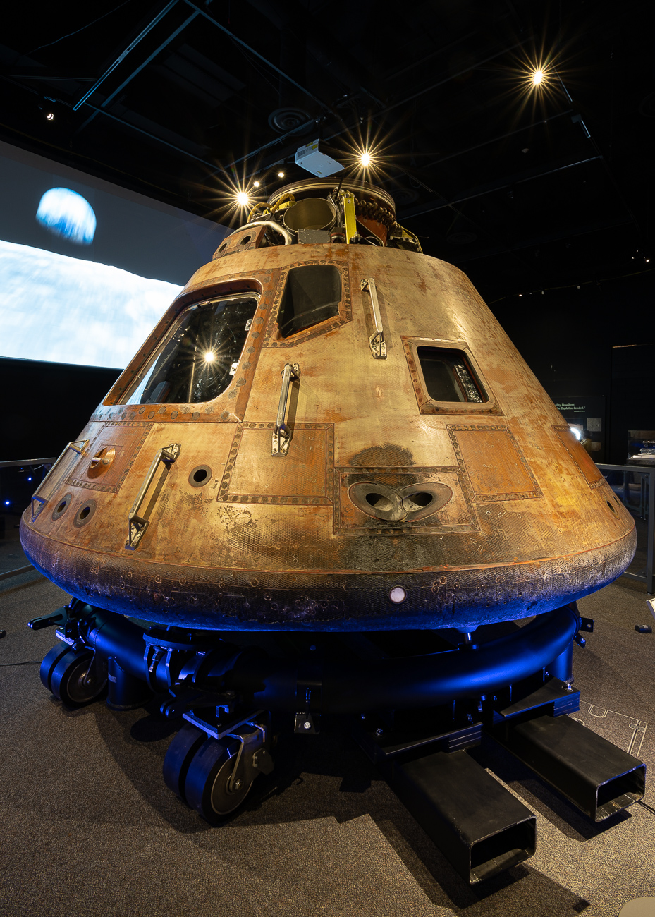 The Apollo 11 command module Columbia is the most notable piece of the collection. This piece of equipment safely housed all three astronauts during takeoff, travel, and reentry, and was recovered from the Pacific Ocean along with Armstrong, Aldrin, and Collins when they returned to Earth. It hasn't left DC since 1976, but is now part of the traveling Destination Moon exhibition. You can see this extraordinary piece of history at the Cincinnati Museum Center until February 17, 2020. / Image: Phil Armstrong, Cincinnati Refined // Published: 10.2.19<p></p>