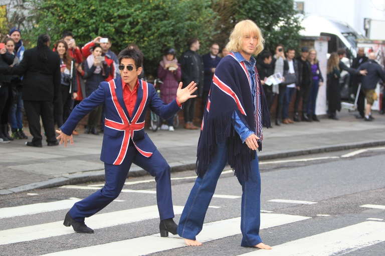 "Ben Stiller and Owen Wilson promote ""Zoolander 2"" at the Abbey Road crossing used by The Beatles for their ""Abbey Road"" album cover in London on Feb. 4, 2016. (David Sims/WENN)"