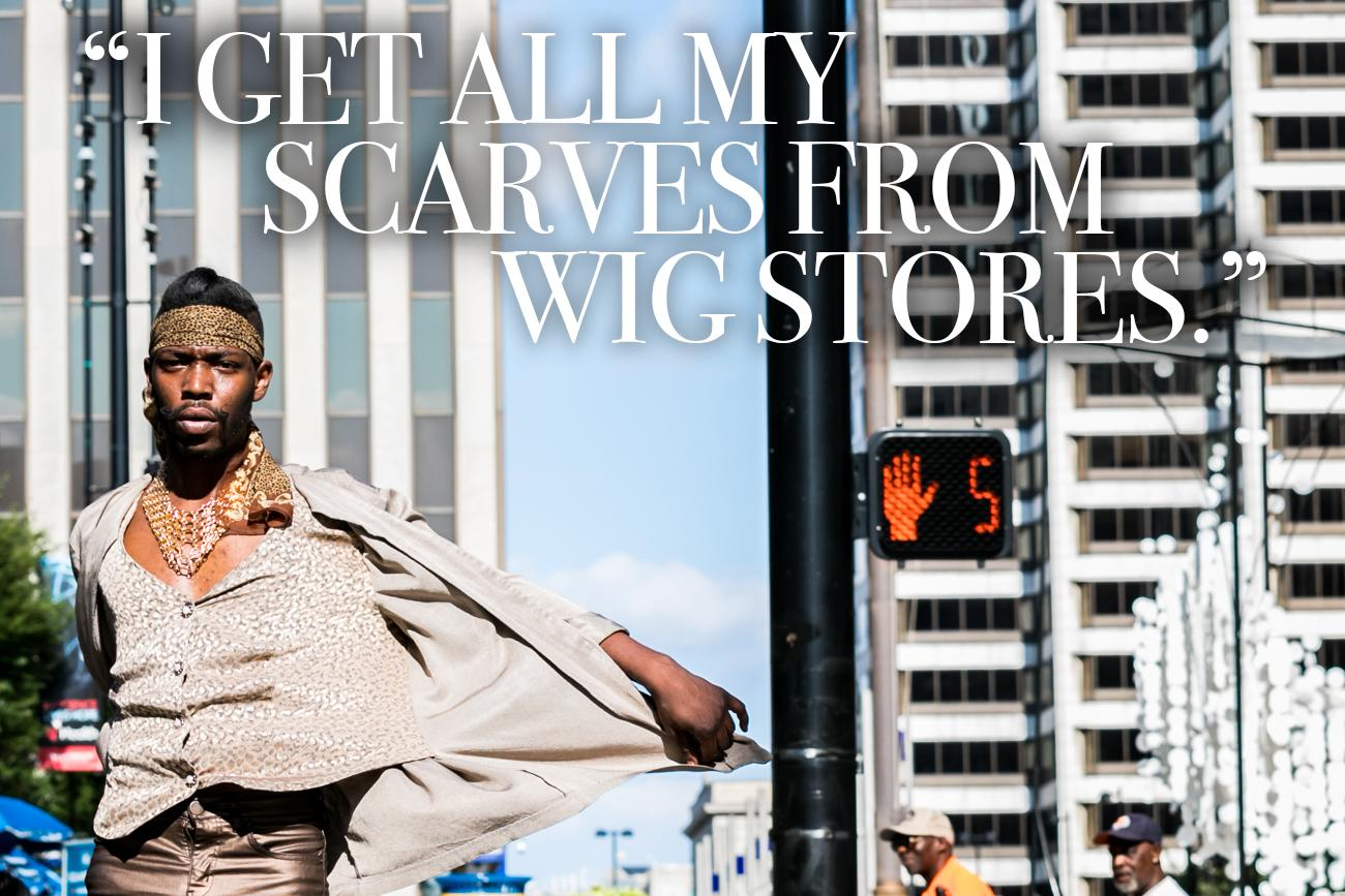 "Cincy Refined: You love scarves. Where do you find them? / Jermey White: ""You'd be surprised, but I get all my scarves from wig stores."" / Image: Amy Elisabeth Spasoff // Published: 9.5.18"