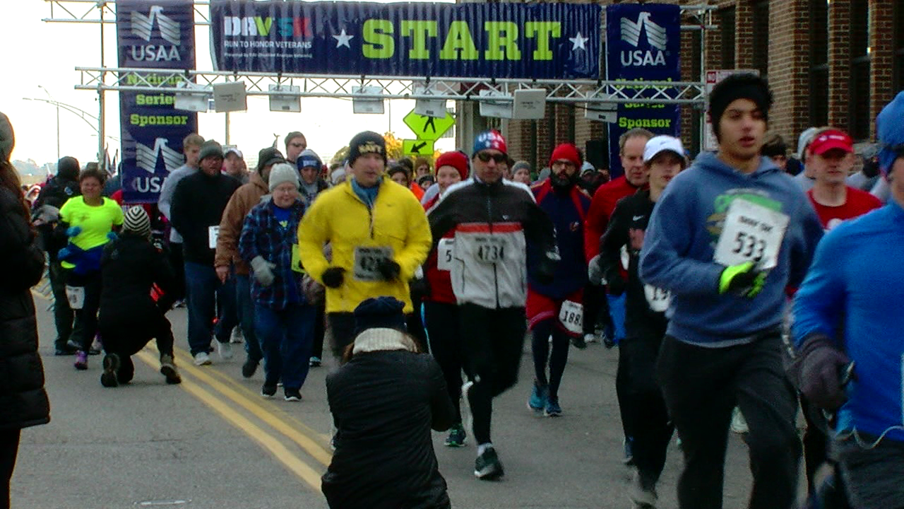 Many braved the cold Saturday morning, all in support of the brave men and women who have served our country. (WKRC)
