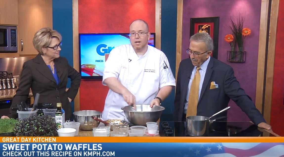 Chef Aaron making Sweet Potato Waffles with Bourbon Maple Syrup in the Great Day Kitchen