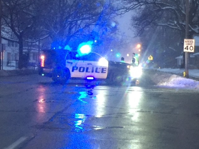 Westnedge Avenue was shut down at Parkwood on the hill Tuesday morning for a power line down. (WWMT/Jessica Wheeler)<p></p>