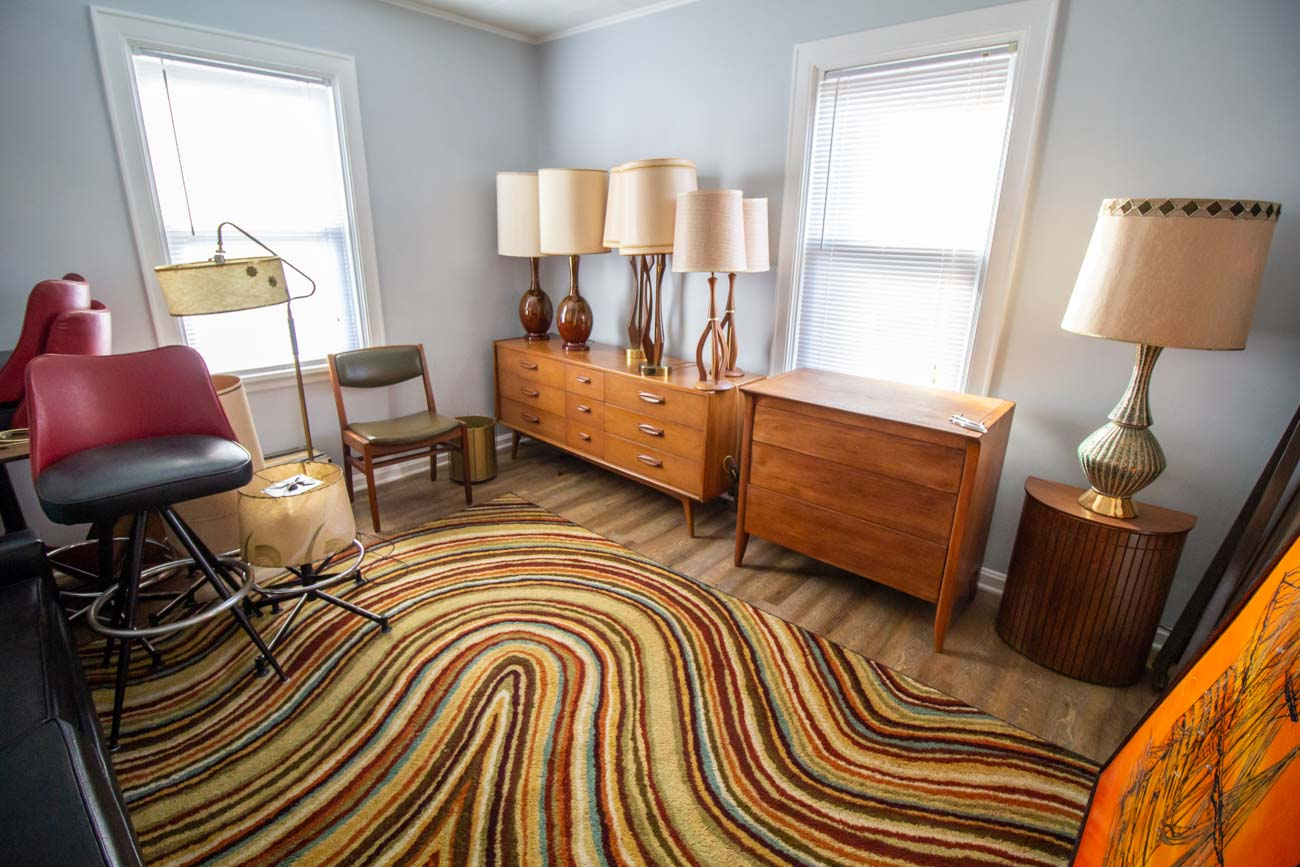 """What attracted me to Mid-century modern pieces is that they're very simple,"" Jeff says. When it comes to the balance of collecting vs marketing the furniture Jeff comes across, he says he mostly got into the hobby to sell them. ""My wife does not like Mid-century style,"" Jeff admits. ""I'd like to keep most of [the pieces], but I know better. Those are battles I'm not going to win."" / Image: Katie Robinson, Cincinnati Refined // Published: 12.14.20"
