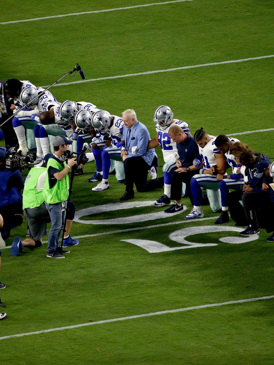 Dallas Cowboys Owner Jerry Jones Kneels Before The National Anthem Wham