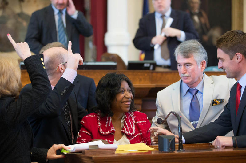 Rep. Ruth Jones McClendon on the floor of the Texas House as lawmakers adopt her bill creating an innocence commission. (Photo courtesy Texas House of Representatives)