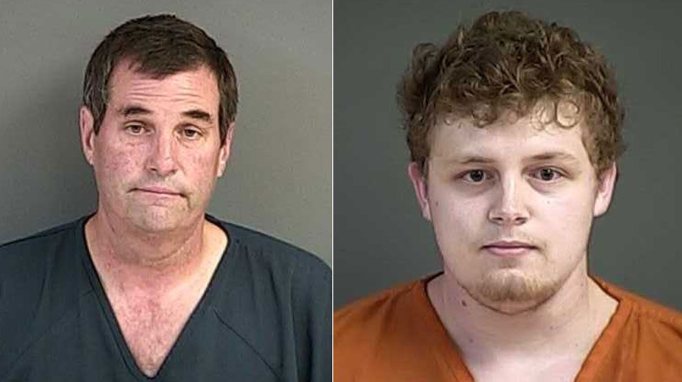 Mike Sanderson (left) was arrested on charges of unlawful use of a weapon, menacing and first degree attempted assault. Dillen Sanderson (right) was arrested on charges of unlawful use of a weapon and first degree attempted assault. <p></p>