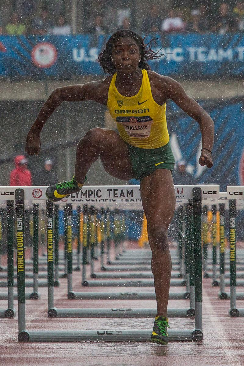 Oregon Duck Sasha Wallace completes the final hurdle as she races towards the finish line in the semi-finals of the women�s 100 meter hurdles. Day Eight of the U.S. Olympic Trials Track and Field continued on Friday at Hayward Field in Eugene, Ore. and will continue through July 10. Photo by Katie Pietzold