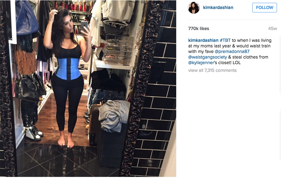 The Kardashians brought waist training to a forefront when they started wearing (more importantly, posting) about them on social media. (Image: @kimkardashian / instagram.com/kimkardashian)