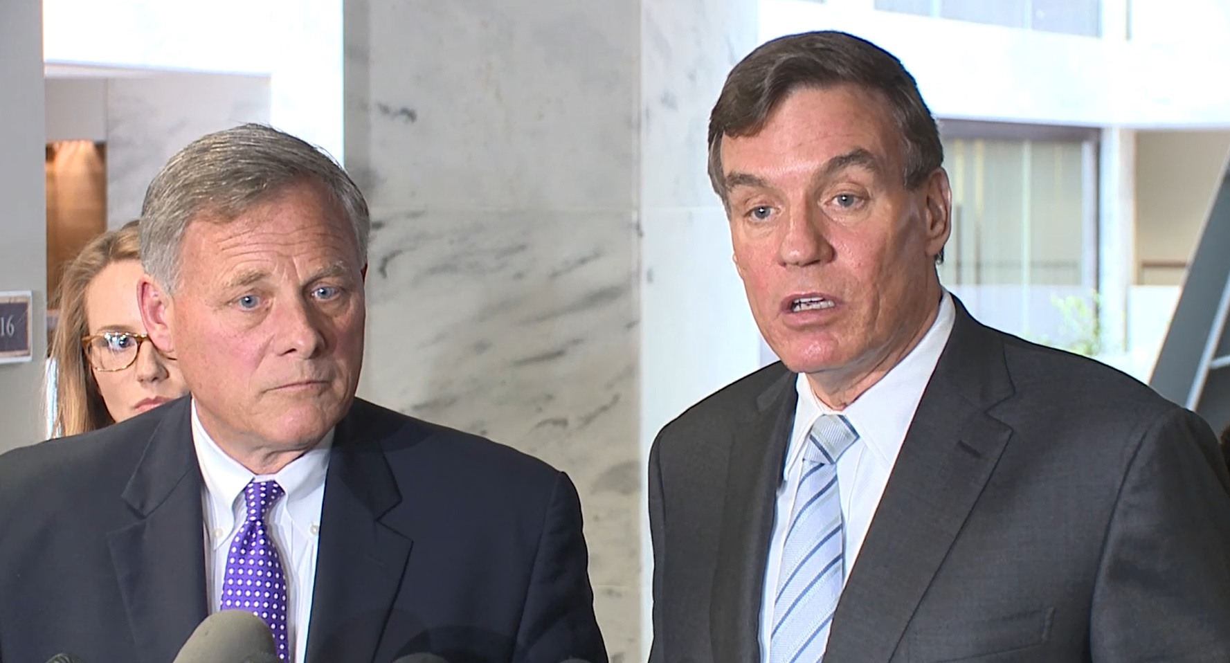 FILE - The heads of the Senate Intelligence Committee, Richard Burr (R-N.C.) and Mark Warner (D-Va.) hold a press conference after meeting with Deputy Attorney General Rod Rosenstein on Capitol Hill, Thurs. May 11, 2017. (Sinclair Broadcast Group)