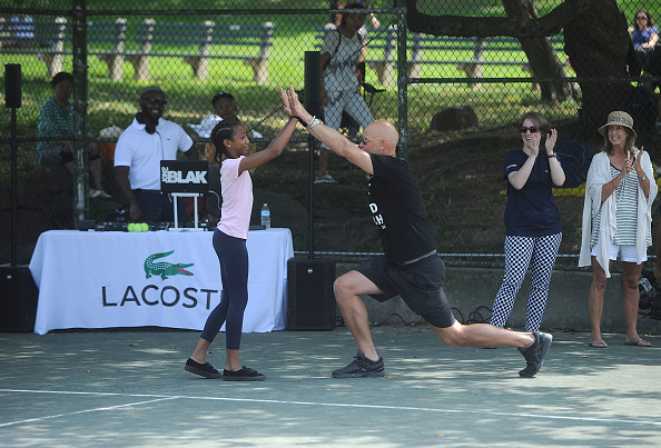 NEW YORK, NY - AUGUST 27:  Tennis Player Murphy Jensen attends the LACOSTE And City Parks Foundation Host Tennis Clinic In Central Park on August 27, 2017 in New York City.  (Photo by Brad Barket/Getty Images for LACOSTE)