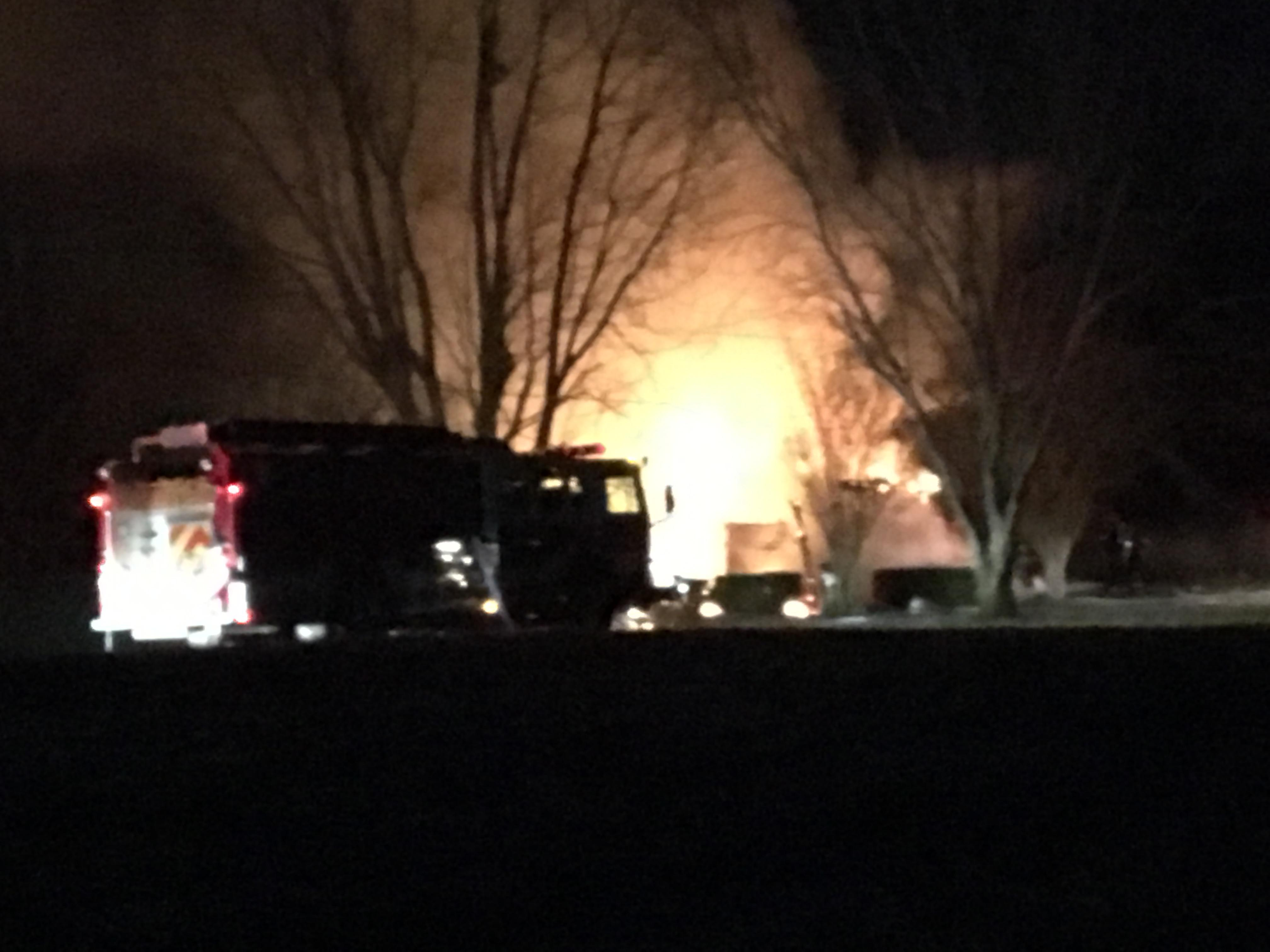 Firefighters battle a house fire in Soddy Daisy early Sunday. (Image: WTVC)<p></p>