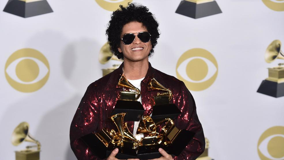 28 2018 File Photo Bruno Mars Poses With His Awards At The 60th Annual Grammy In New York Weeknd Jack White And Arctic