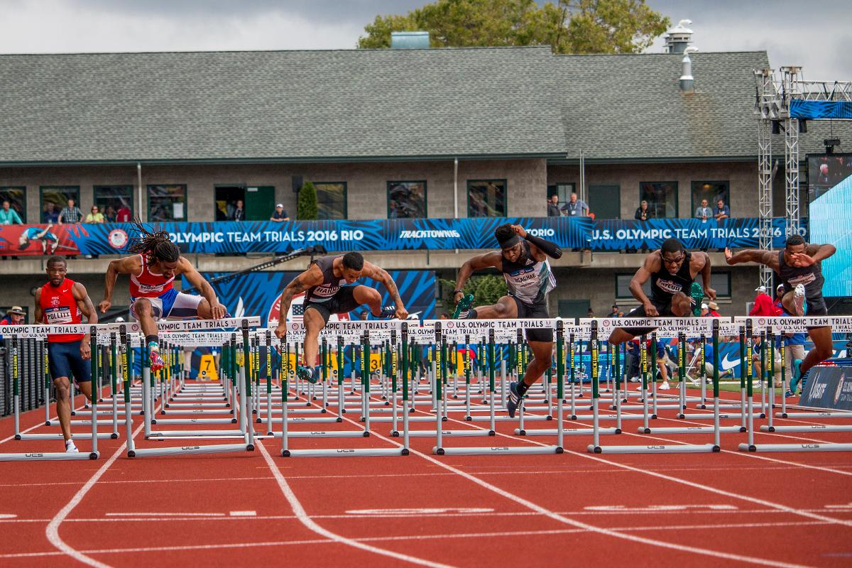 Athletes compete in the prelims of the men�s 110 meter hurdles. Day Eight of the U.S. Olympic Trials Track and Field continued on Friday at Hayward Field in Eugene, Ore. and will continue through July 10. Photo by Katie Pietzold