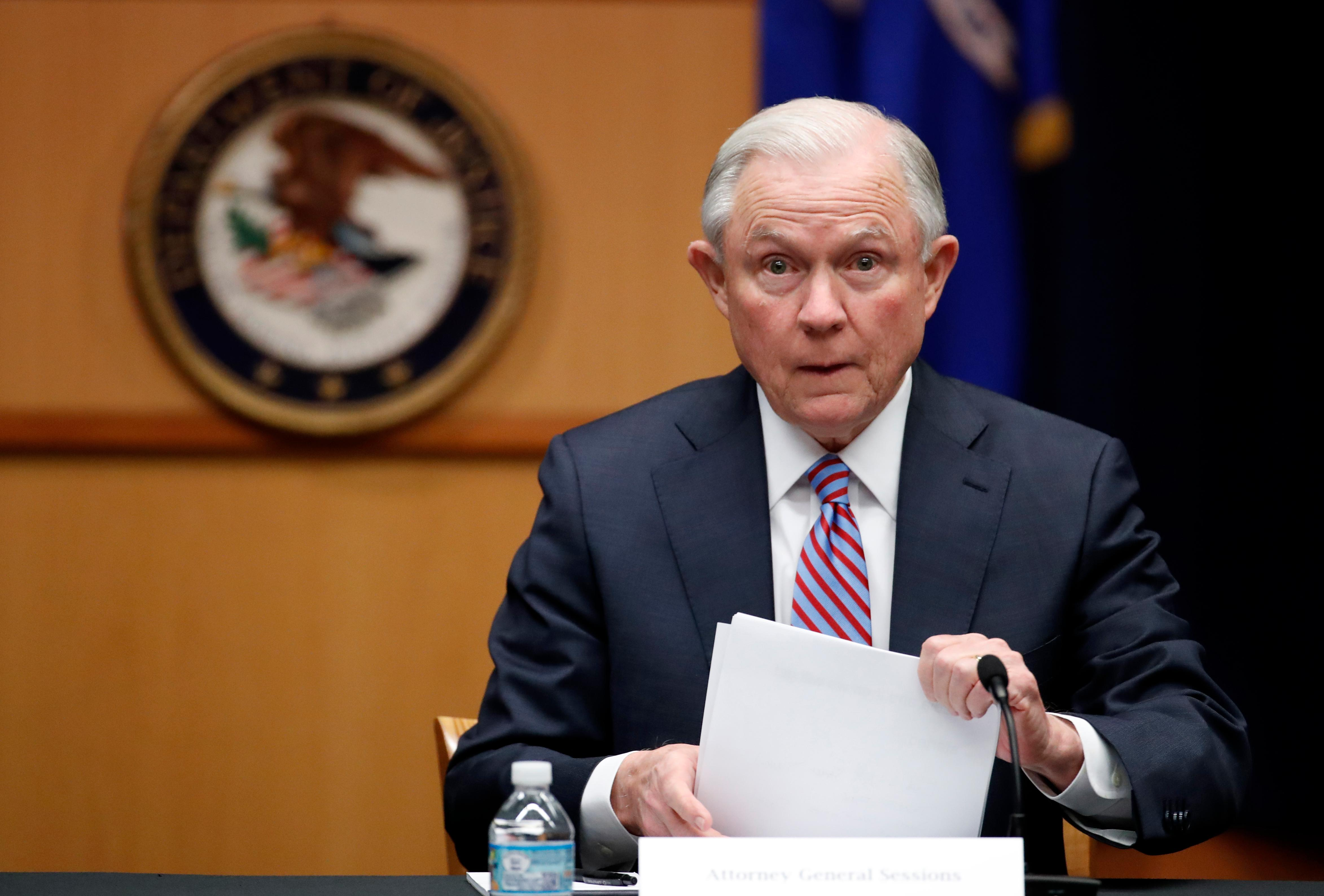 "In this April 18, 2017 file photo Attorney General Jeff Sessions prepares to speak before a meeting of the Attorney General's Organized Crime Council and Organized Crime Drug Enforcement Task Forces (OCDETF) Executive Committee to discuss implementation of the President's Executive Order 13773, at the Department of Justice in Washington. Hawaii's Democratic lawmakers are criticizing Attorney General Jeff Sessions after he expressed amazement on a radio show that a ""judge sitting on an island in the Pacific"" could stop the president's travel ban. U.S. Sen. Mazie Hirono on Thursday tried to give Sessions a civics lesson on Twitter, saying Hawaii has been a U.S. state for 58 years. (AP file Photo/Alex Brandon)"