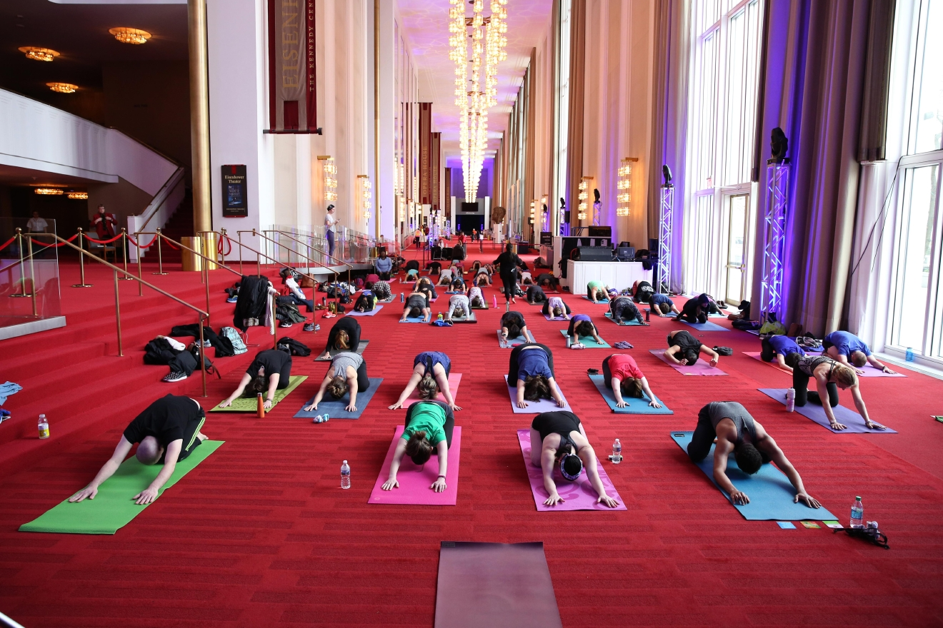 Enjoy a free, all-levels vinyasa yoga class in the Grand Foyer as part of the Kennedy Center's Sound Health program. (Image: Amanda Andrade-Rhoades/ DC Refined)