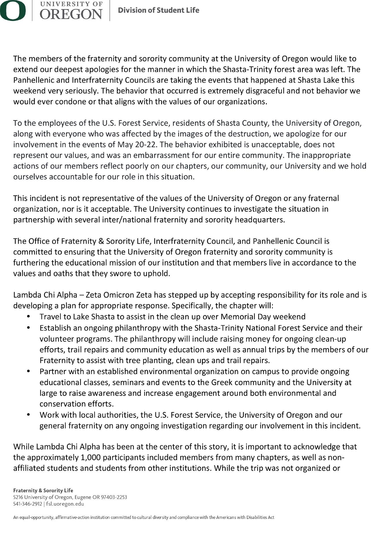 University of Oregon issues apology letter for Lake Shasta trash | KMTR