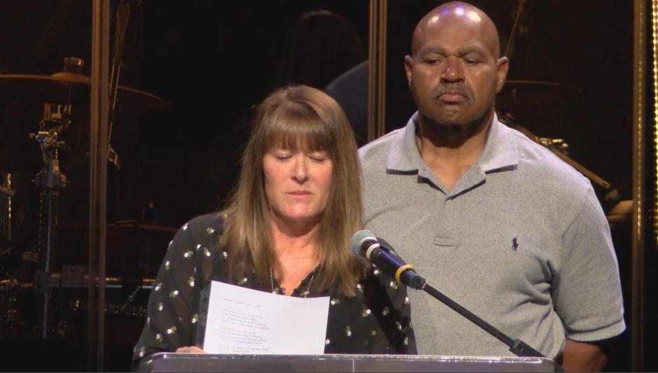 Dmetri's parents, Cheri and Barry, share loving letters from their son at his funeral on Tuesday.