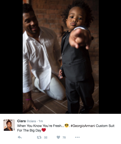 """When You Know You're Fresh.... #GeorgioArmani Custom Suit For The Big Day"" (Image: @ciara / twitter.com/ciara)"
