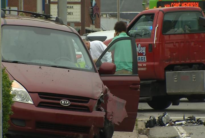 A pregnant woman was injured in a crash Wednesday on MacCorkle Avenue. (WCHS/WVAH)