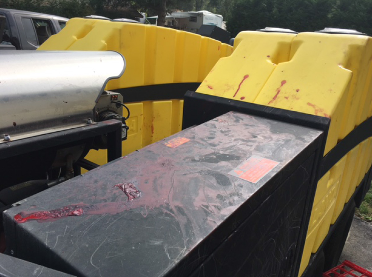 Blood spatters are seen on the trailer where the UPS driver was attacked by the pit bulls. (Photo from Pierce County Sheriff's Office)