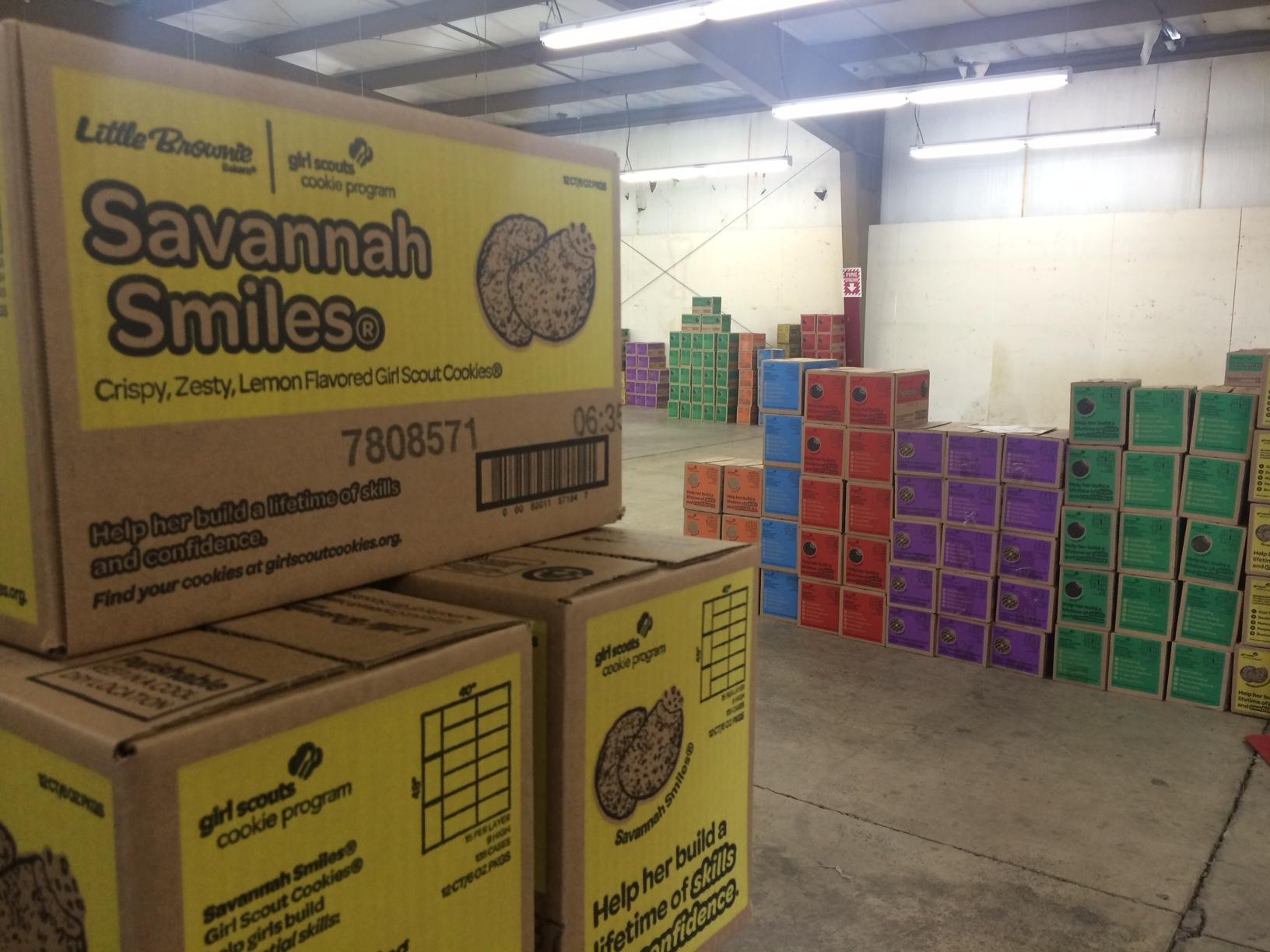 On Thursday, troops in Springfield unloaded more than 21,000 cases of cookies to a warehouse on Gateway. The boxes will be distributed to 14 troops in Springfield. (SBG)