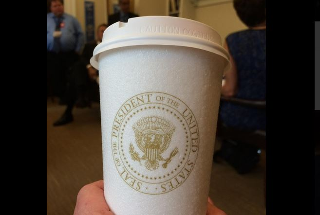 """Ummm, yeah. This is my coffee cup. @WhiteHouse @POTUS #souvenir"" (@Cammy_Dierking)"